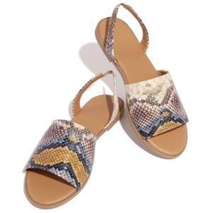 Shoes - Snake Print Slingback Sandals